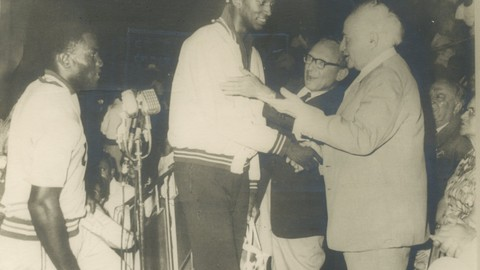 Maccabiah History -   - the 6th maccabiah david ben gurion right and robert atlas with john thomas the us champion in high jump. johnson won ten at the rome olympics 1960